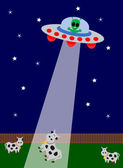 UFO kidnapping with cow — Stock Vector
