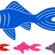 Many fishes of different colors — Stock Vector