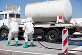Chemical spill after traffic accident — Stock Photo