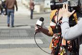 TV reporter interview — Stock Photo