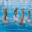 Stock Photo: Synchronized swimmers legs movement