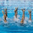 图库照片: Synchronized swimmers legs movement