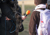 Interview with schoolgirl — Stock Photo