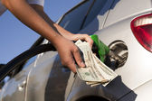 Refueling vehicle at gas station — Stock Photo