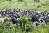 Pile of old tires in the nature — Stock Photo