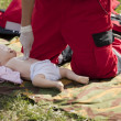 Infant dummy first aid training — Stock Photo