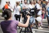 Охватывающий события с видео камерой — Стоковое фото
