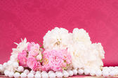 Romantic border with rose background — Stock Photo