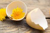 Broken eggs with yellow dandelion on wooden background — Stock Photo