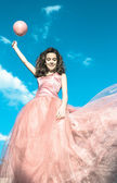 Girl with pink balloons — Stock fotografie