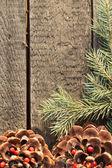 новогоднее украшение над деревянными фоне. винтаж — Стоковое фото