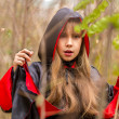 Girl in a red and black cloak — Stock Photo #30258097