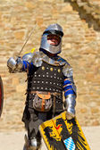 Knight on Historical Festival in Sudak stronghold — Stock Photo