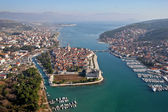 Aerial view of Trogir old unesco town with marina — Stock Photo