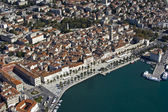 Split, town center, aerial view from the seaside, Croatia — Stock Photo
