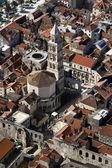 Peristyle and St Domnius cathedral in Split, aerial view — Stok fotoğraf