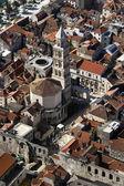 Peristilo y st domnius catedral de split, aerial view — Foto de Stock