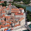 Royalty-Free Stock Photo: Trogir with Saint Lawrence cathedral, aerial view