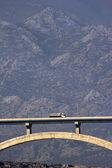 Maslenica bridge in front of mountain Velebit — Stock Photo