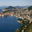 Red roofs, white walls and blue sea of Dubrovnik — Stock Photo