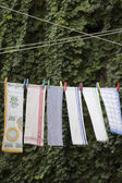 Drying towels on rope — Stock Photo