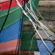 Prow of colored boats — Stock Photo
