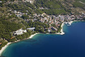 Brela on Makarska riviera, aerial view — Stock Photo