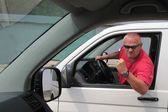 Aggressive driver , young man driving car aggressively, Violence at the wheel — Stock Photo