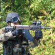 Stock Photo: Special police unit training, shooter swat, assault rifle sa58, caliber 7,62 mm