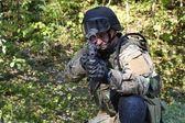 Special police unit training, shooter swat, assault rifle sa58, caliber 7,62 mm — Stock Photo