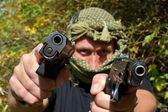 Armed and dangerous terrorist, detail — Stock Photo