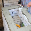 Stock Photo: Bricklayer builds a wall