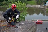 Rescuer on the rope, exercise special police units, the real situation, the Czech Republic, the city of Kadan — Stock Photo