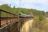 пассажирский поезд на железнодорожный виадук возле деревни rikonin, чешская республика — Стоковое фото