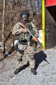 Soldier special counterterrorism unit, AK-47 with an assault rifle, caliber 7.62 mm — Stock Photo