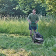 Man mowing tall grass — Stock Photo