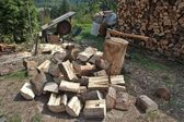 Firewood, preparing for winter — Stock Photo