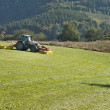 Stock Photo: Tractor mowing mountain meadow in Czech Republic