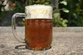 Glass full of beer on the blurry background forest — Stock Photo