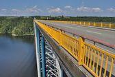 Bridge over the dam Orlik, on the river Vltava in Czech Republic — Stock Photo