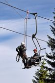 Training of rescue teams on a chairlift at ski resort — Stock Photo