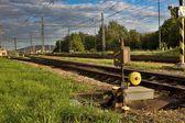 Old manual railway turnout — Zdjęcie stockowe