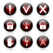 Black and red glossy buttons with security, hazard and warning signs. — Vecteur #21622529