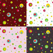 Set of seamless patterns with colorful circles. — Stock Vector