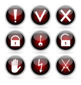 Black and red glossy buttons with security, hazard and warning signs. — Stock Vector