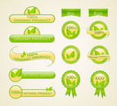 Labels for eco-friendly, organic and natural product — Stock Vector