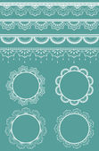 Set of vector lace ribbons and frames. — Vector de stock