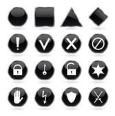 Black glossy buttons with security, hazard, warning and prohibit — Stock Vector