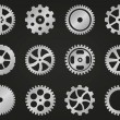 Cogwheels (gear wheels) of different design. — Stock Vector