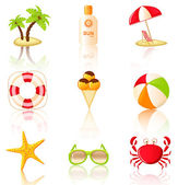 Collection of colored beach icons. — Stock Vector